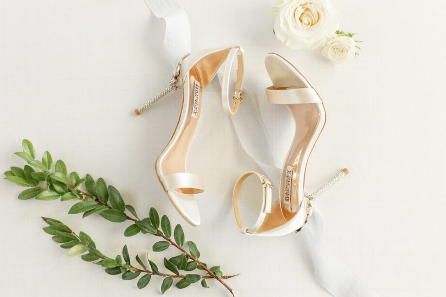 Wedding flowers and wedding shoes for detail shots